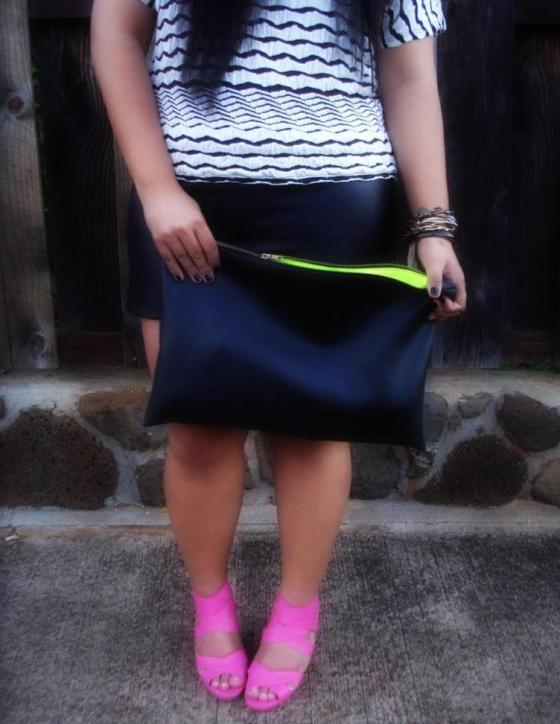 DIY Black Leather Clutch, American Apparel Clutch, Elisharon