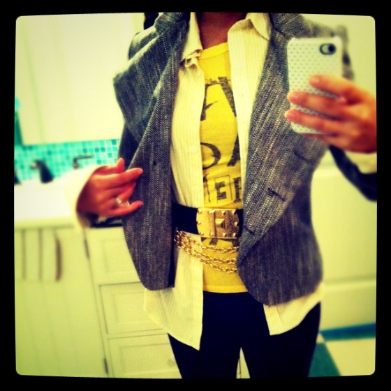korea fashion, asymmetrical blazer, club monaco button down, vintage chain belt