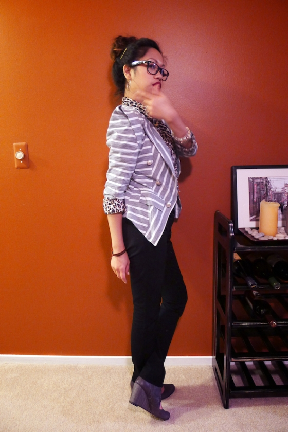 Structured Blazer, How to Wear Mixed Prints, Bold Stripes on Leopard, OOTD