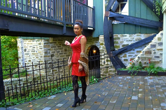 Red Peplum Dress, H&M Leopard wrap, The Lady in Red