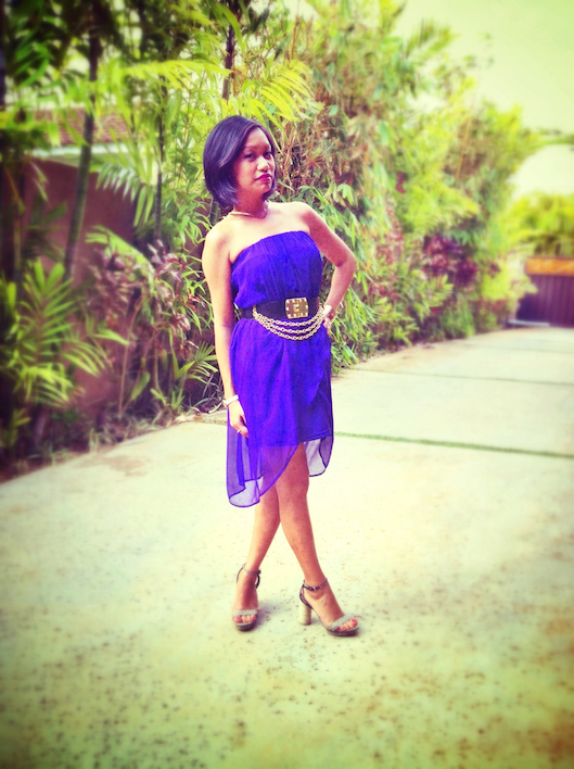 OOTD, thereafterish, purple high low dress, vintage gold chain belt