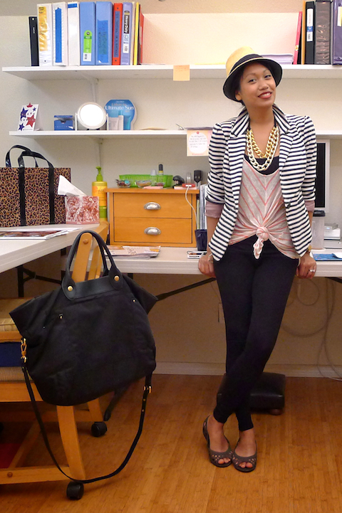 thereafterish, OOTD, how to mix prints, striped blazer, HRH Cuff Necklace, HRH Collection, HRH Necklace, Cuff Necklace, Croc flats