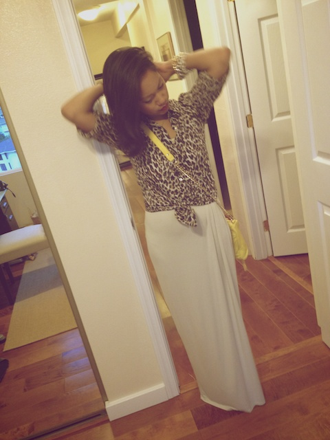 thereafterish, OOTD, fighting eel maxi, wang tempest knock off, leopard button down, Rebecca minkoff mab mini