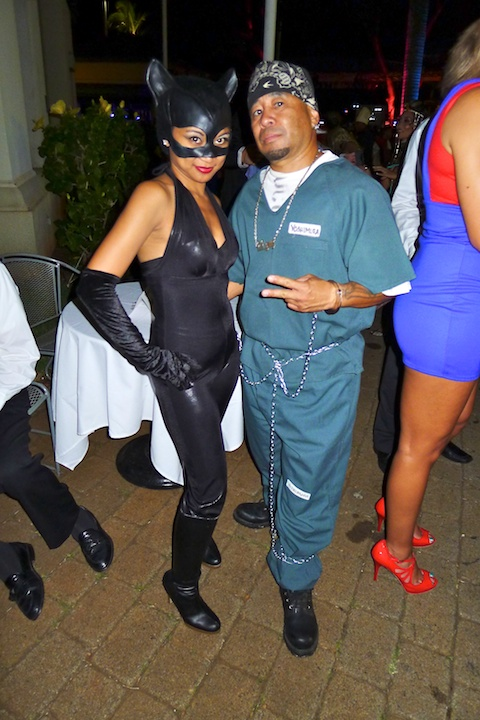 thereafterish, Aloha Tower Halloween Party, Cat Woman costume, Jailbird Costume