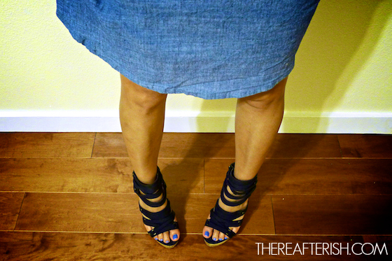 thereafterish, ootd, hawaii fashion blogger, chambray 50s dress, chambray dress, cage heels, jeffrey campbell cage heels