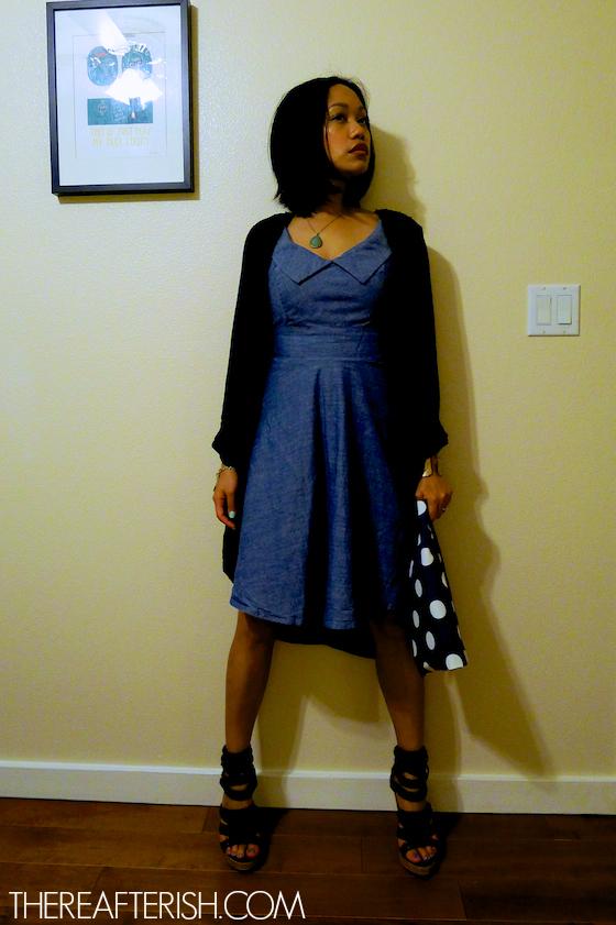 thereafterish, ootd, hawaii fashion blogger, chambray 50s dress, chambray dress, polka dot clutch