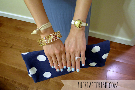thereafterish, ootd, hawaii style, blue monochrome, how to wear blue monochrome, blue monochromatic, polka dot clutch, gold arm party