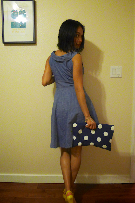 thereafterish, OOTD, polka dot clutch, melissa dragon lady shoes, melissa bow shoes, chambray retro dress