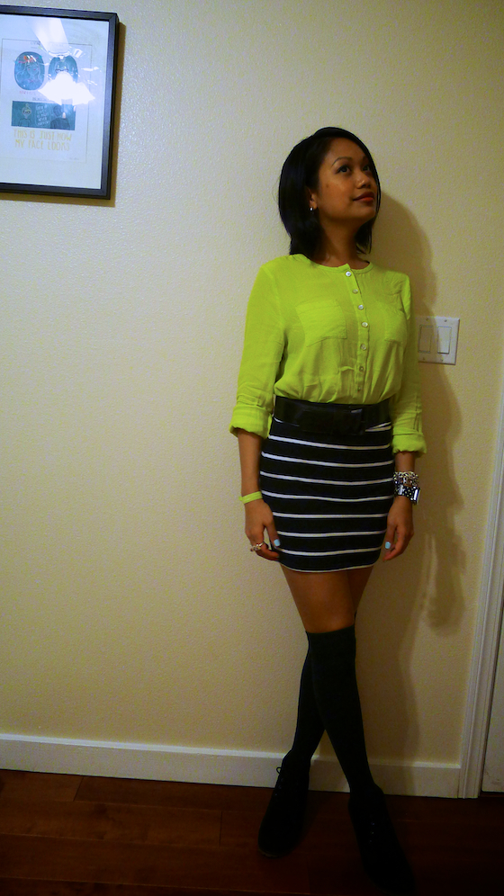 thereafterish, ootd, neon with stripes, neon on stripes, neon blouse, thigh highs with boots
