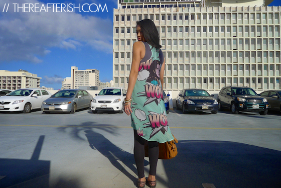 thereafterish, ootd, comic print dress, comic print slip, cover up by vp