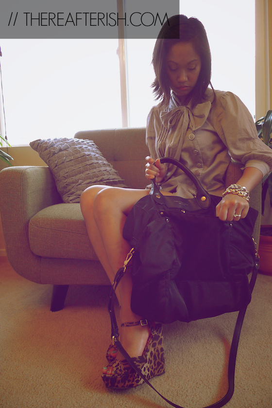 thereafterish, ootd, work outfit, what I wore, bow neck button down, leopard heels, marc jacobs preppy tote