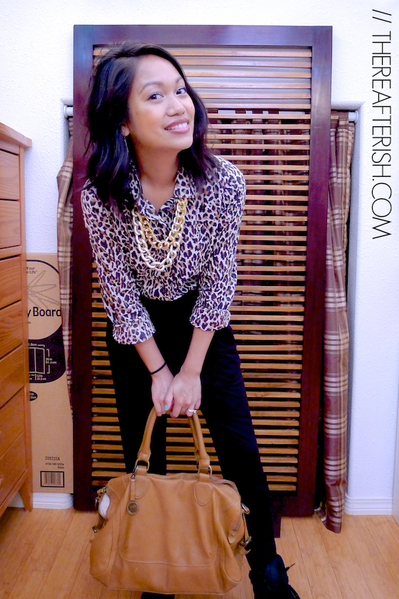 thereafterish, ootd, what I wore, Hawaii style blogger, leopard button down, rachel pally pants, HRH Collection Necklace, Neck Party